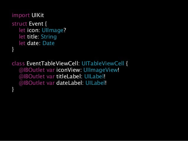 … class EventTableViewCell: UITableViewCell { … func set(event: Event) { iconView.image = event.icon titleLabel.text = eve...