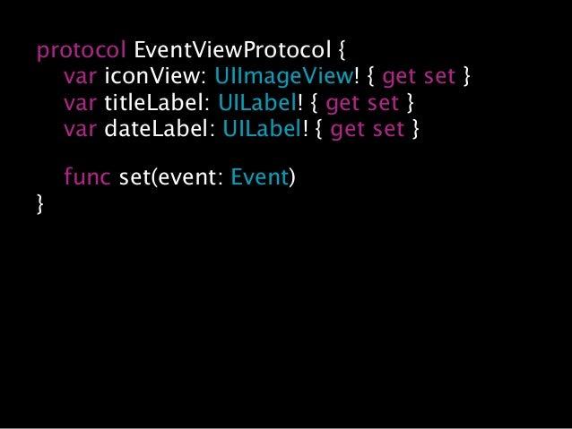… import XCTest class TestView { var iconView: UIImageView! = UIImageView() var titleLabel: UILabel! = UILabel() var dateL...