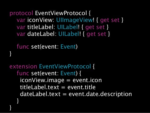 """… let eventDate = Date.init() let event = Event.init(icon: UIImage.init(named: """"testEventIcon"""") title: """"event title"""", date..."""