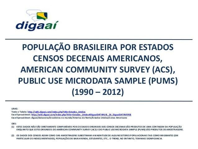 POPULAÇÃO BRASILEIRA POR ESTADOS CENSOS DECENAIS AMERICANOS, AMERICAN COMMUNITY SURVEY (ACS), PUBLIC USE MICRODATA SAMPLE ...