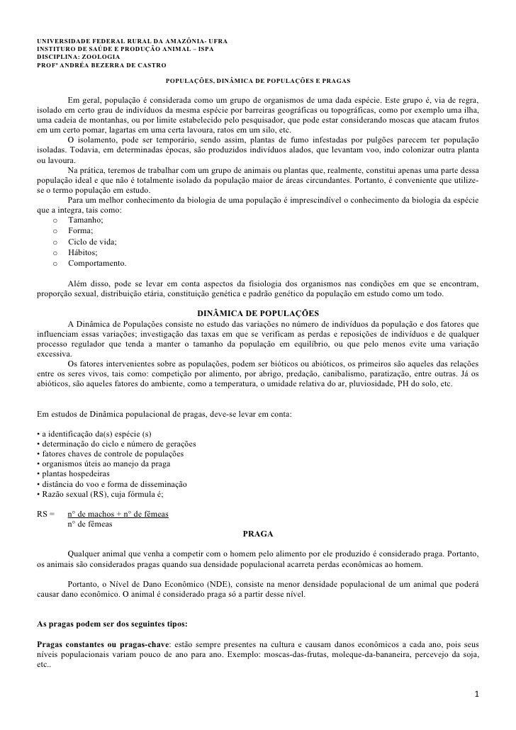 UNIVERSIDADE FEDERAL RURAL DA AMAZÔNIA- UFRAINSTITURO DE SAÚDE E PRODUÇÃO ANIMAL – ISPADISCIPLINA: ZOOLOGIAPROFª ANDRÉA BE...