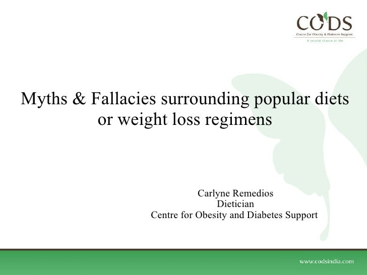 Myths & Fallacies surrounding popular diets or weight loss regimens Carlyne Remedios Dietician Centre for Obesity and Diab...