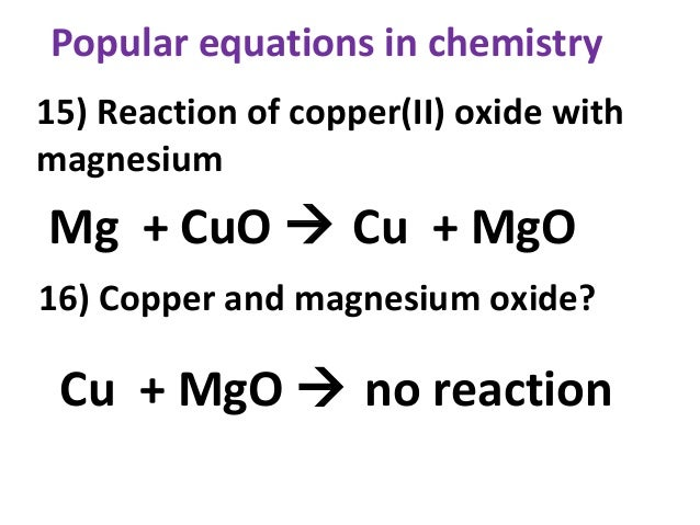 Popular equations in chemistry
