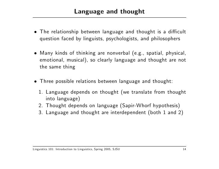 an analysis of the relationship between thought and language Emotional intelligence is a topic that is attracting a considerable amount of popular  including a brief analysis of the relationship between thoughts, .