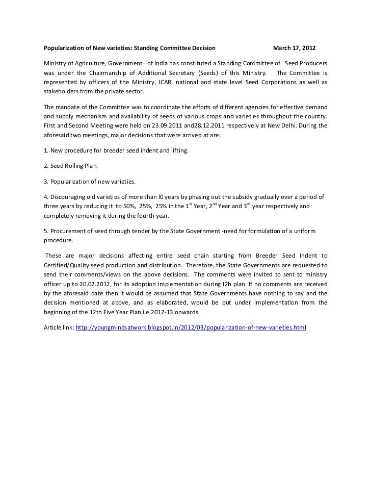 Popularization of New varieties: Standing Committee Decision                         March 17, 2012Ministry of Agriculture...