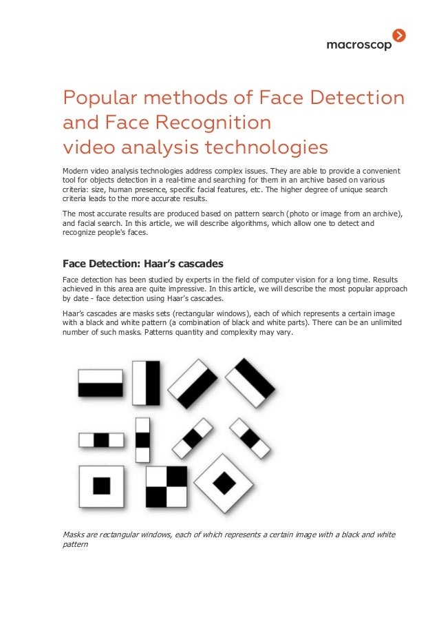 Popular methods of face detection and face recognition video analysis…