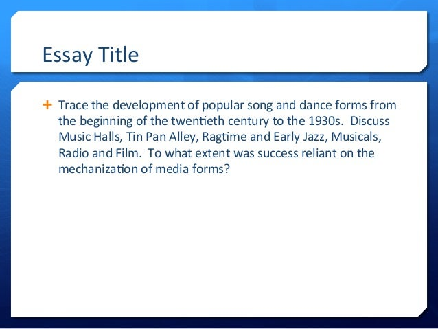 music essay titles