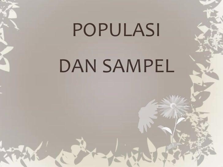 POPULASIDAN SAMPEL