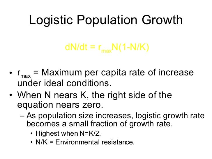 mark biology and population growth rate Under the experimental growth conditions which were outlined above (a small population size and unlimited resources), rmax is the intrinsic rate of population increase and dn/dt = rmaxn  this is the called the exponential population growth equation and gives us a j shaped curve.