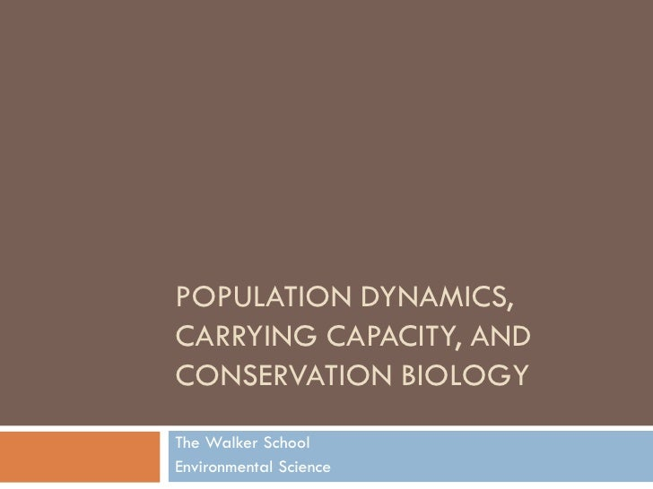 POPULATION DYNAMICS, CARRYING CAPACITY, AND CONSERVATION BIOLOGY The Walker School Environmental Science