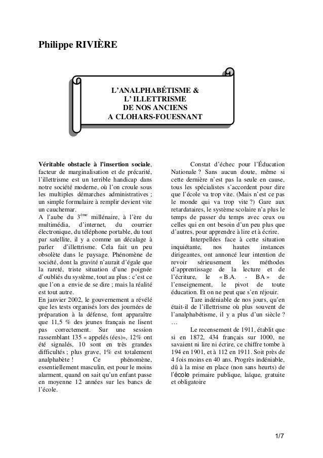 Philippe RIVIÈRE  L'ANALPHABÉTISME & L' ILLETTRISME DE NOS ANCIENS A CLOHARS-FOUESNANT  Véritable obstacle à l'insertion s...