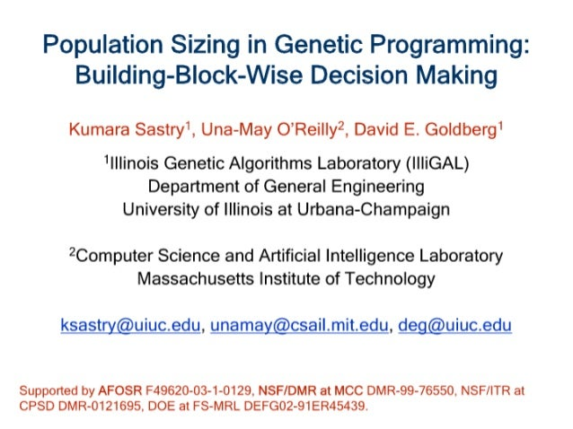 Population Sizing for Genetic Programming Based Upon Decision Making