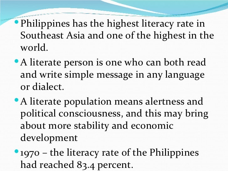 literacy rate of philippines