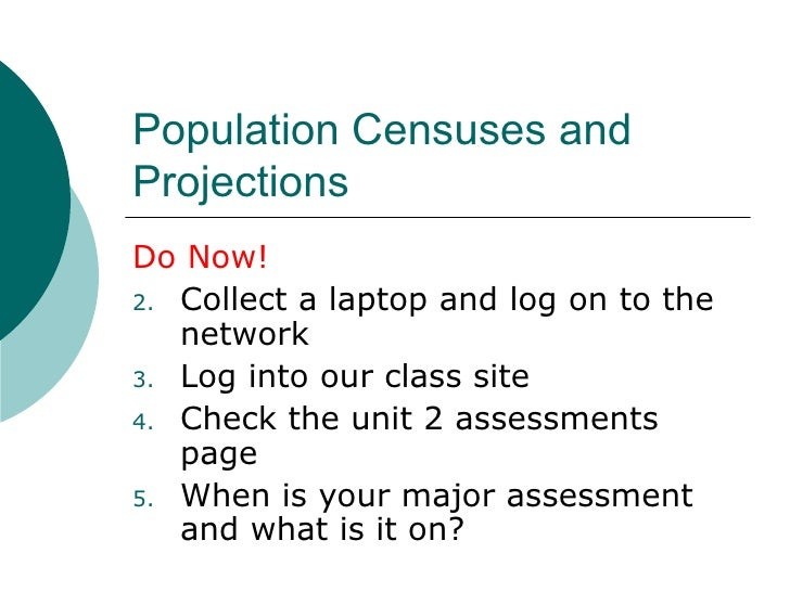 Population Censuses and Projections <ul><li>Do Now! </li></ul><ul><li>Collect a laptop and log on to the network </li></ul...
