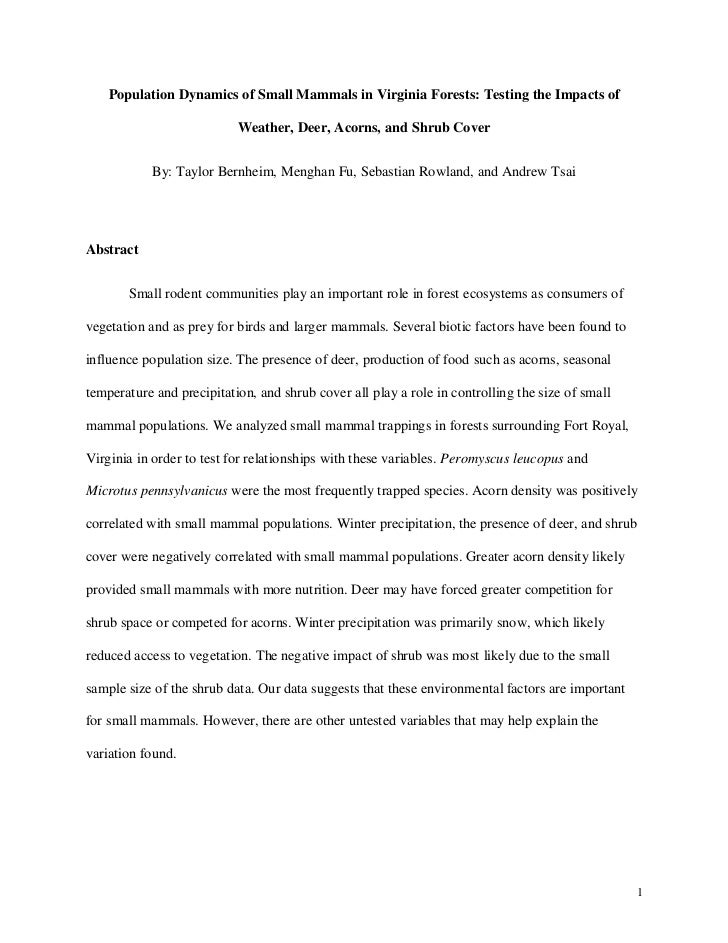 Population Dynamics of Small Mammals in Virginia Forests: Testing the Impacts of                           Weather, Deer, ...