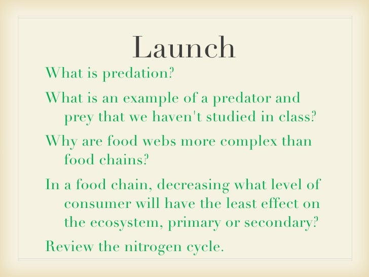Launch <ul><li>What is predation? </li></ul><ul><li>What is an example of a predator and prey that we haven't studied in c...