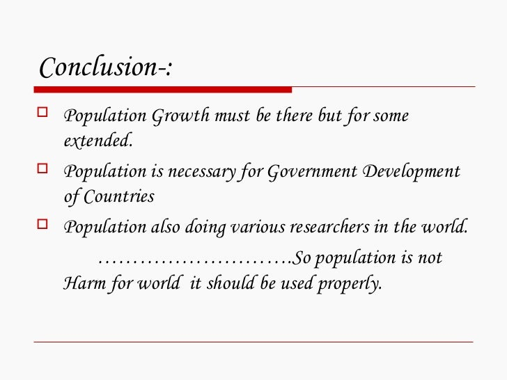 conclusion of population Introduction: population-development-environment dynamics in the developing world alex de sherbinin  by a brief conclusion ———— 1 a number of kenyan and.