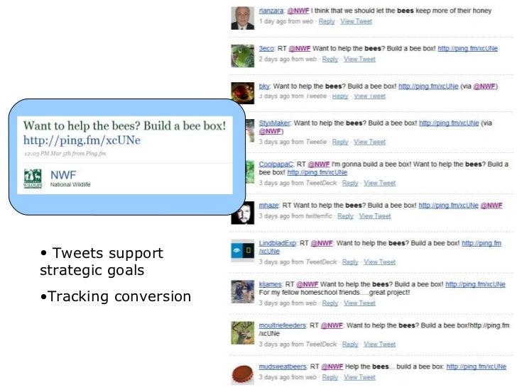 <ul><li>Tweets support strategic goals </li></ul><ul><li>Tracking conversion  </li></ul>