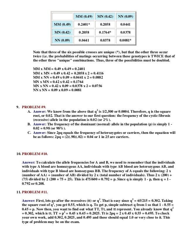 Worksheet II: Population Genetics