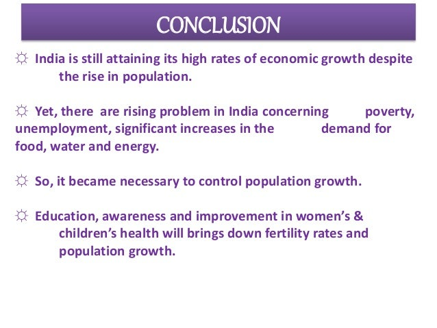 Population growth and economic development in india