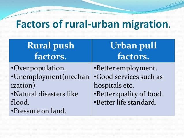 push factors of rural urban migration