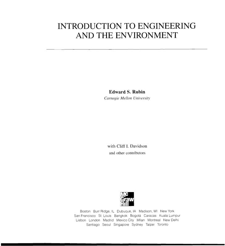 INTRODUCTION TO ENGINEERING    AND THE ENVIRONMENT                      Edward S. Rubin                   Cnrlzegie Mrllnn...