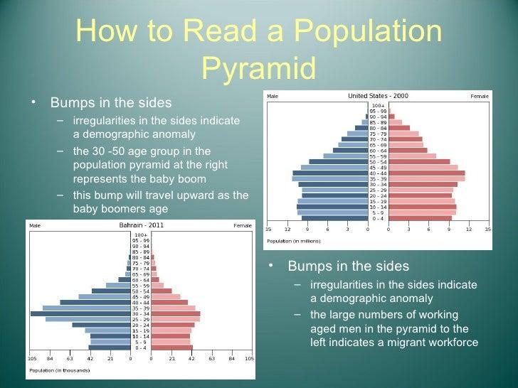 How to Read a Population Pyramid <ul><li>Bumps in the sides  </li></ul><ul><ul><li>irregularities in the sides indicate a ...