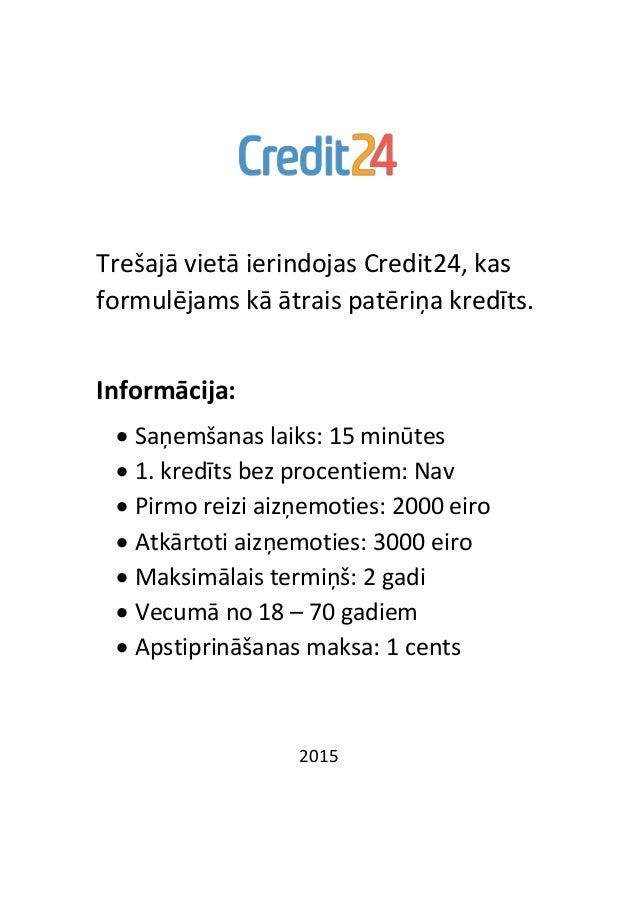 Trešajā vietā ierindojas Credit24, kas formulējams kā ātrais patēriņa kredīts. Informācija:  Saņemšanas laiks: 15 minūtes...