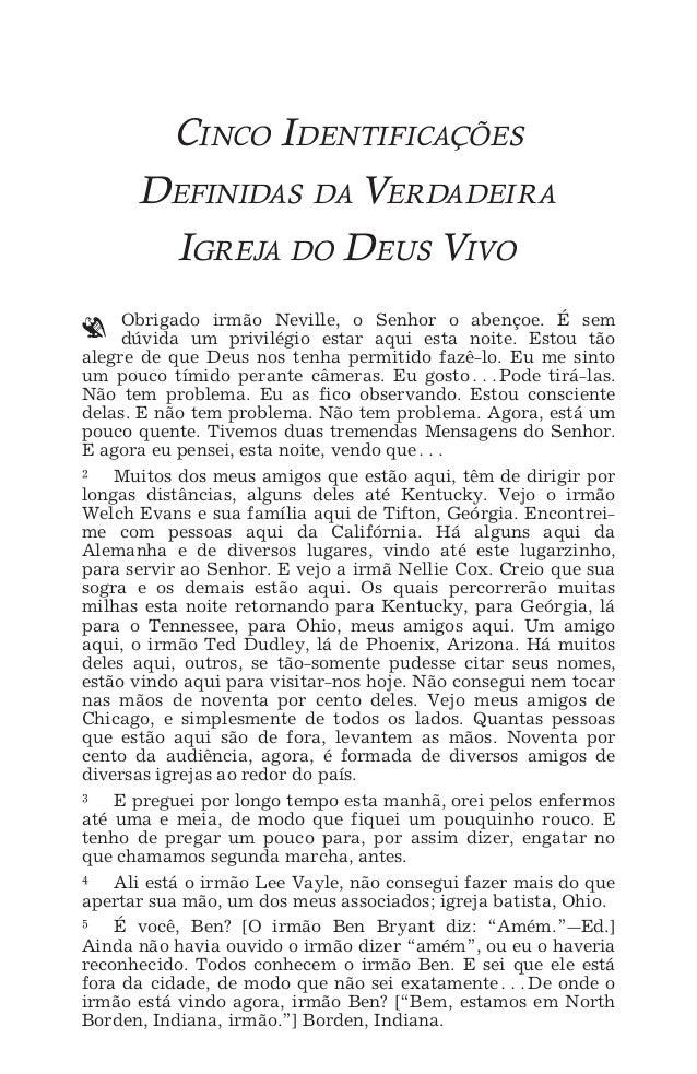 CINCO IDENTIFICAÇÕES DEFINIDAS^ 1 CINCO IDENTIFICAÇÕES DEFINIDAS DA VERDADEIRA IGREJA DO DEUS VIVO ` Obrigado irmão Nevill...