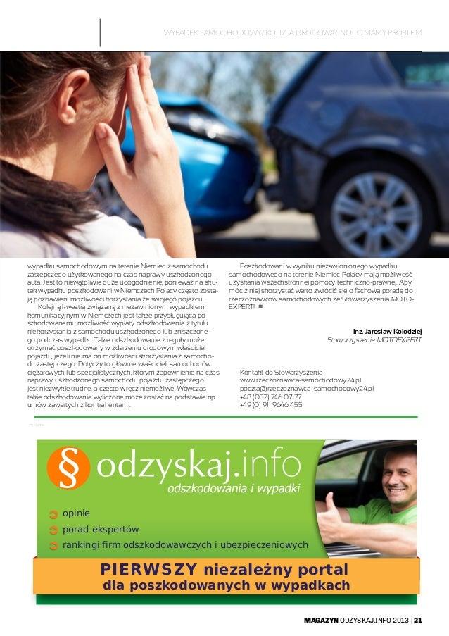 MAGAZYN ODZYSKAJ.INFO 2013   21 reklama WYPADEK SAMOCHODOWY? KOLIZJA DROGOWA? NO TO MAMY PROBLEM wypadku samochodowym na t...