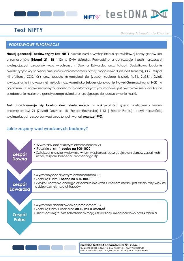 Siedziba testDNA Laboratorium Sp. z o.o. | ul. Bocheńskiego 38A, 40-859 Katowice | www.testDNA.pl NIP: 634-282-27-48 | Reg...