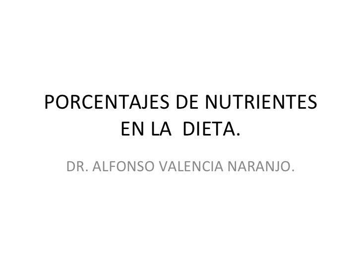 PORCENTAJES DE NUTRIENTES EN LA  DIETA. DR. ALFONSO VALENCIA NARANJO.