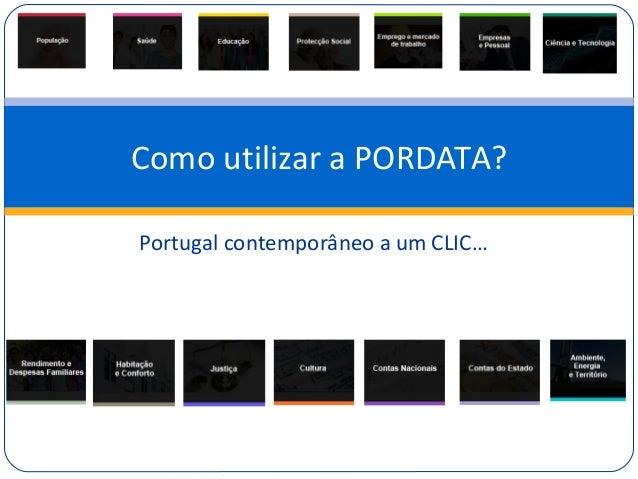 Portugal contemporâneo a um CLIC… Como utilizar a PORDATA?