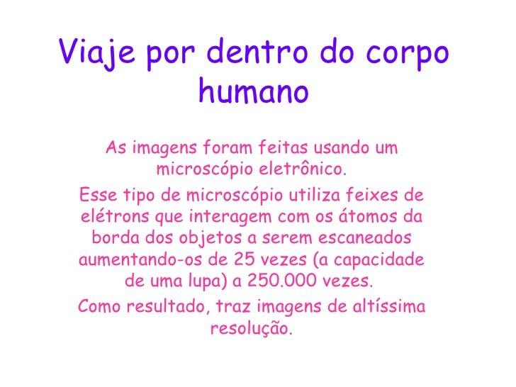 Viaje por dentro do corpo humano As imagens foram feitas usando um microscópio eletrônico. Esse tipo de microscópio utiliz...