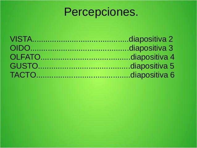 Percepciones. VISTA............................................diapositiva 2 OIDO............................................