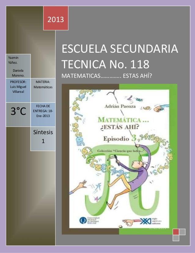 2013Yazmin                              ESCUELA SECUNDARIAYáñez.  Daniela                              TECNICA No. 118  Mo...