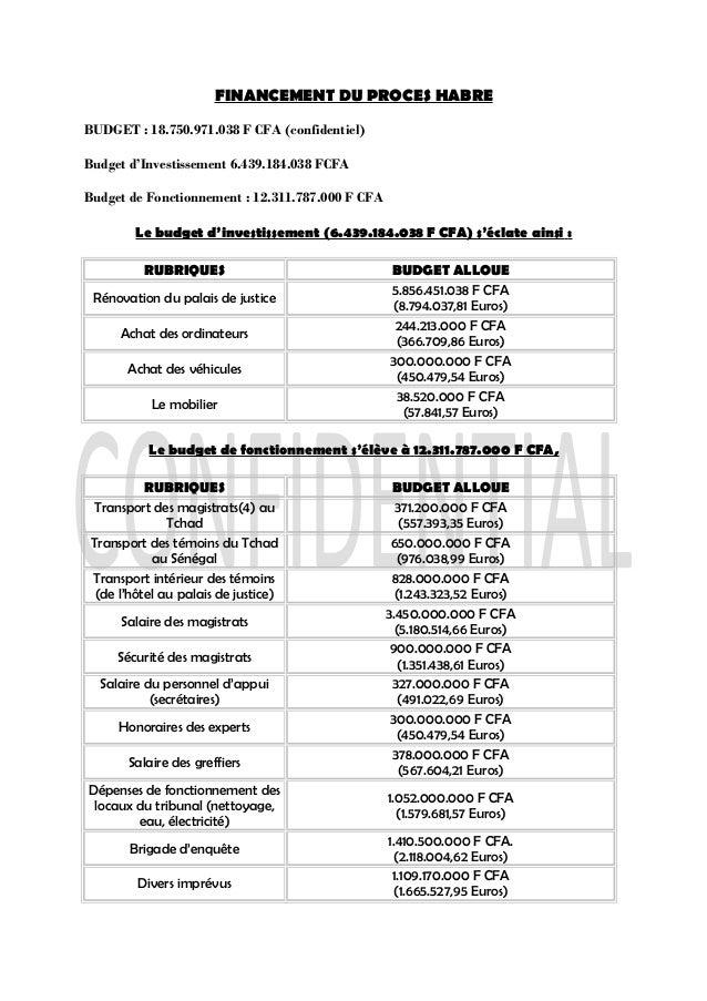FINANCEMENT DU PROCES HABRE BUDGET : 18.750.971.038 F CFA (confidentiel) Budget d'Investissement 6.439.184.038 FCFA Budget...