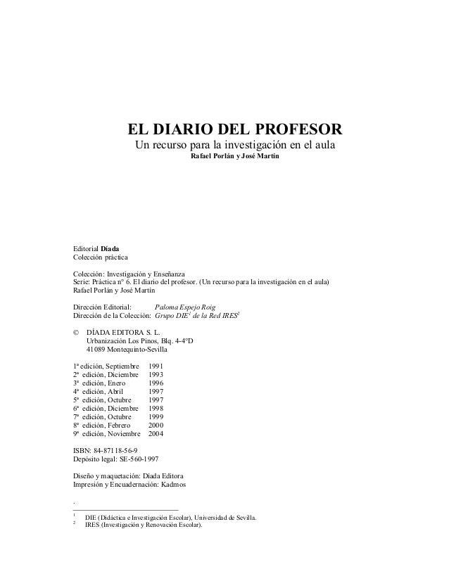 EL DIARIO DEL PROFESOR                      Un recurso para la investigación en el aula                                   ...
