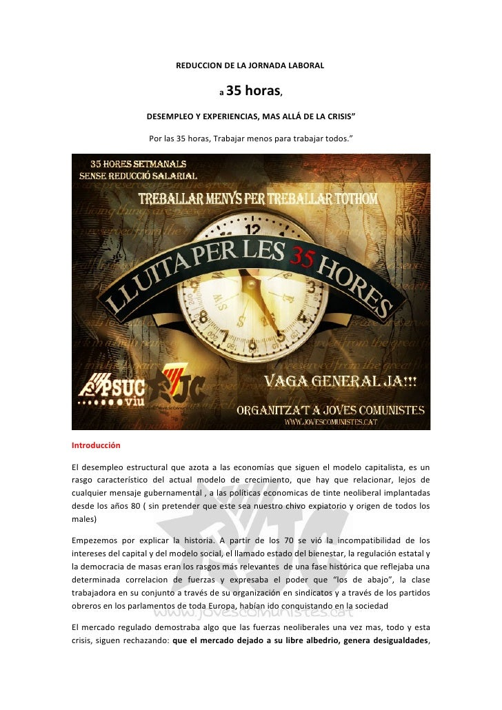 REDUCCION DE LA JORNADA LABORAL                                          a   35 horas,                     DESEMPLEO Y EXP...