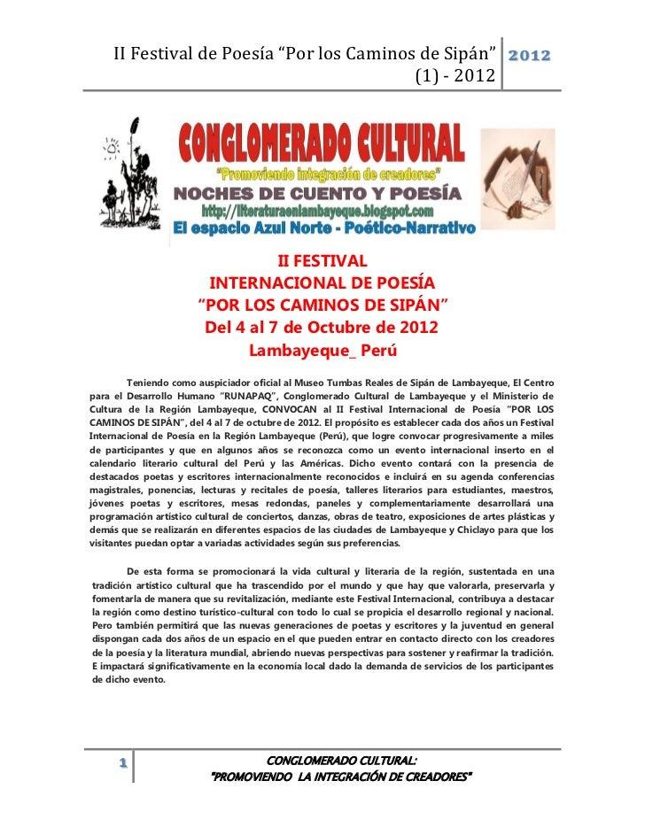 """II Festival de Poesía """"Por los Caminos de Sipán"""" 2012                                           (1) - 2012                ..."""