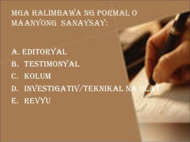 pormal na sanaysay Posts about tungkol sa pagbabago written by ch_d halimbawa ng sanaysay sa  filipino sanaysay example, sanaysay na di-pormal sa filipino sanaysay.