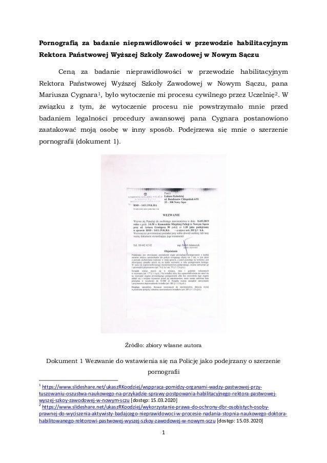 1 Pornografią za badanie nieprawidłowości w przewodzie habilitacyjnym Rektora Państwowej Wyższej Szkoły Zawodowej w Nowym ...
