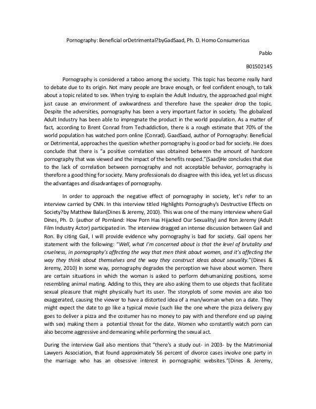 pornography essay pornography beneficial ordetrimental bygadsaad ph d homo consumericuspablob01502145pornography is considered a