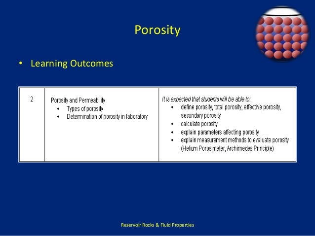 Porosity  • Learning Outcomes  Reservoir Rocks & Fluid Properties