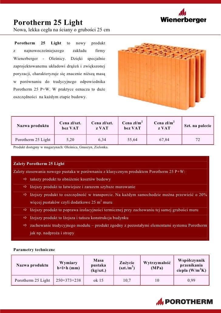 Pustak Porotherm 25 Light Informacje