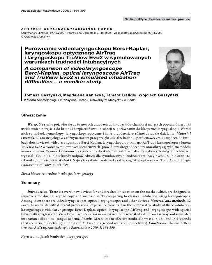 Anestezjologia i Ratownictwo 2009; 3: 394-399                                                                             ...