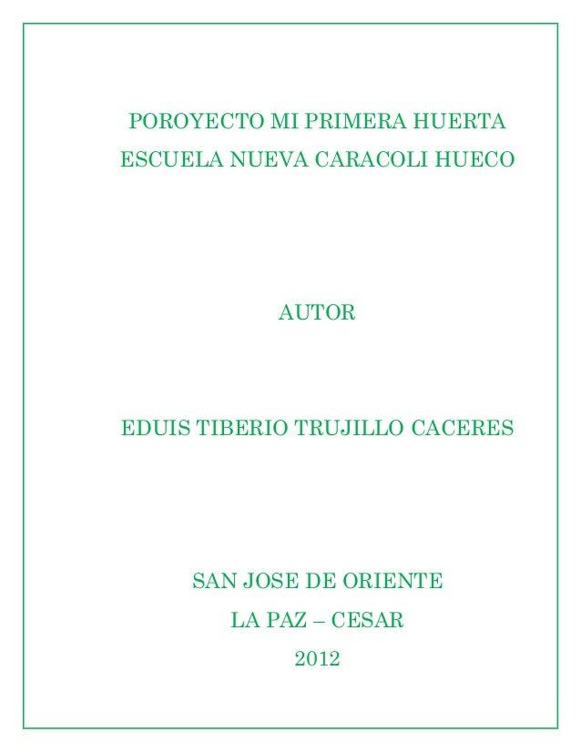 POROYECTO MI PRIMERA HUERTAESCUELA NUEVA CARACOLI HUECO            AUTOREDUIS TIBERIO TRUJILLO CACERES     SAN JOSE DE ORI...