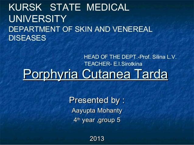 KURSK STATE MEDICAL UNIVERSITY  DEPARTMENT OF SKIN AND VENEREAL DISEASES HEAD OF THE DEPT.-Prof. Silina L.V. TEACHER- E.I....