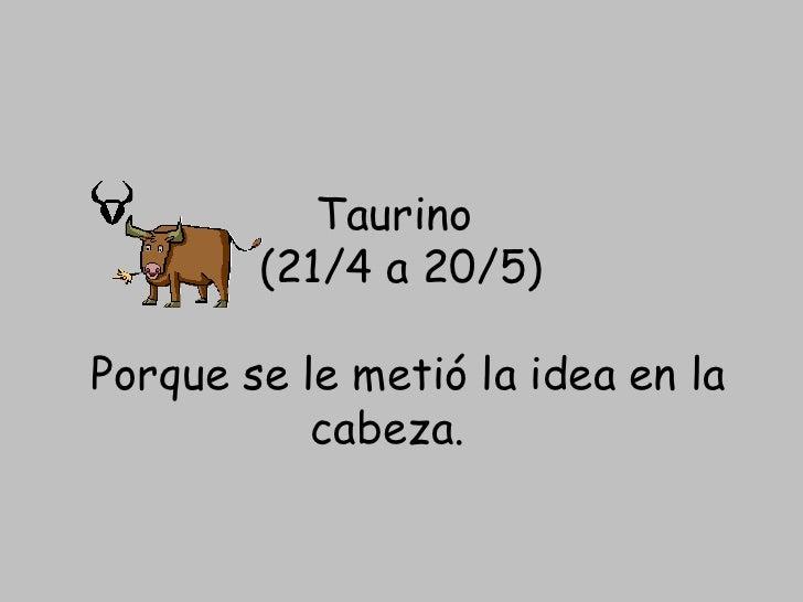 Taurino (21/4 a 20/5) Porque se le metió la idea en la cabeza.