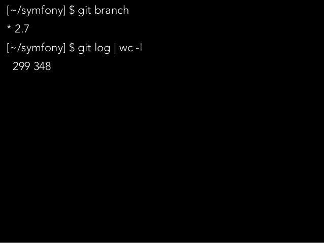 """[~/symfony] $ git branch * 2.7 [~/symfony] $ git log   wc -l 299 348 [~/symfony] $ alias rank=""""sort   uniq -c   sort -nr  ..."""